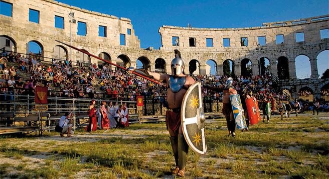 Visit unique city of Pula with one of the best preserved Roman build Amphitheatre dating back to the 1 century B.C.